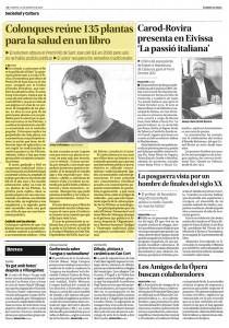 Foto recorte del Diario de Ibiza sobre publicación de uno de sus últimos libros