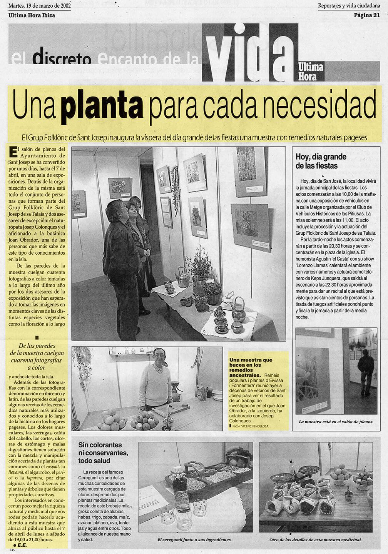 Josep Colonques  Plantas Medicinales Expo 3 St Josep  (Ultima hora)