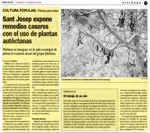 Foto recorte del Diario de Ibiza sobre exposición de plantas medicinales de josep colonques