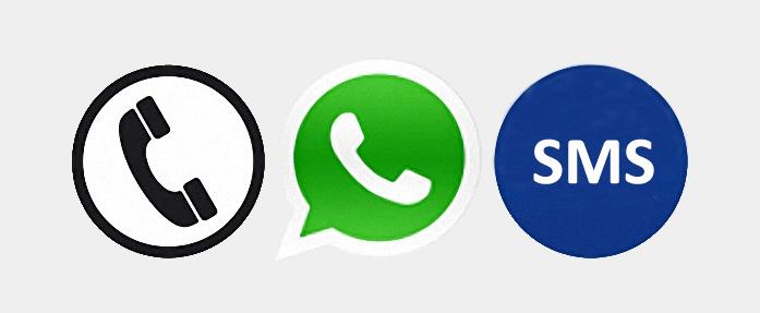 contacto por teléfono, whatsapp y sms