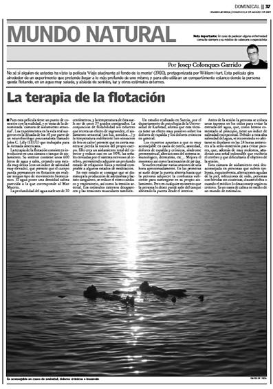Josep Colonques terapia flotación